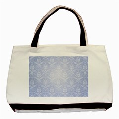 Damask Pattern Wallpaper Blue Basic Tote Bag (two Sides)