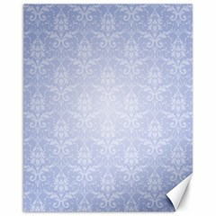Damask Pattern Wallpaper Blue Canvas 11  X 14