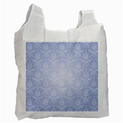 Damask Pattern Wallpaper Blue Recycle Bag (two Side)