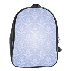 Damask Pattern Wallpaper Blue School Bags(Large)