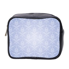 Damask Pattern Wallpaper Blue Mini Toiletries Bag 2 Side