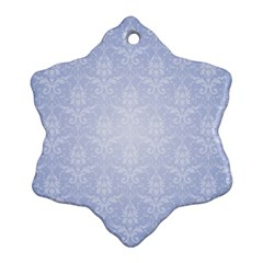Damask Pattern Wallpaper Blue Snowflake Ornament (two Sides)