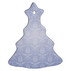 Damask Pattern Wallpaper Blue Christmas Tree Ornament (two Sides)