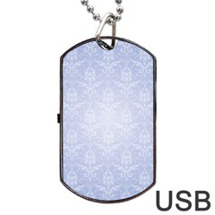 Damask Pattern Wallpaper Blue Dog Tag Usb Flash (one Side)