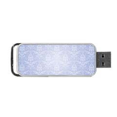 Damask Pattern Wallpaper Blue Portable Usb Flash (one Side)