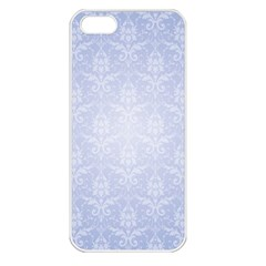 Damask Pattern Wallpaper Blue Apple Iphone 5 Seamless Case (white)