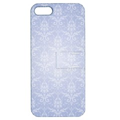Damask Pattern Wallpaper Blue Apple Iphone 5 Hardshell Case With Stand