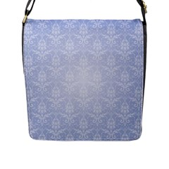 Damask Pattern Wallpaper Blue Flap Messenger Bag (l)