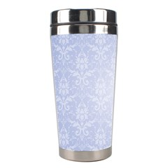 Damask Pattern Wallpaper Blue Stainless Steel Travel Tumblers