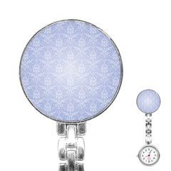 Damask Pattern Wallpaper Blue Stainless Steel Nurses Watch