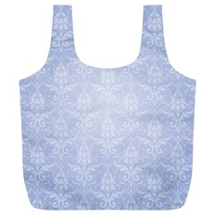 Damask Pattern Wallpaper Blue Full Print Recycle Bags (l)