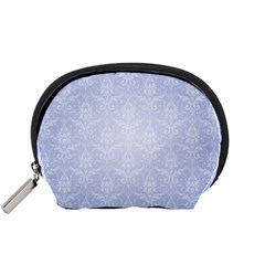 Damask Pattern Wallpaper Blue Accessory Pouches (small)