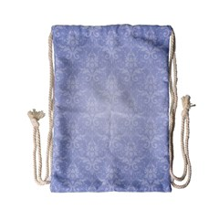 Damask Pattern Wallpaper Blue Drawstring Bag (small)