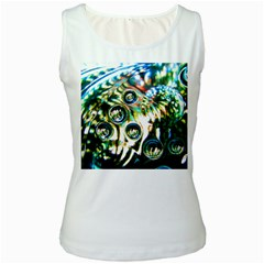 Dark Abstract Bubbles Women s White Tank Top