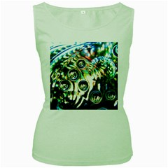 Dark Abstract Bubbles Women s Green Tank Top