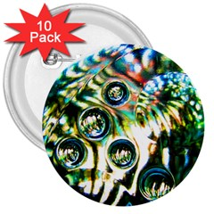 Dark Abstract Bubbles 3  Buttons (10 Pack)
