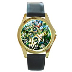Dark Abstract Bubbles Round Gold Metal Watch
