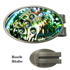 Dark Abstract Bubbles Money Clips (oval)