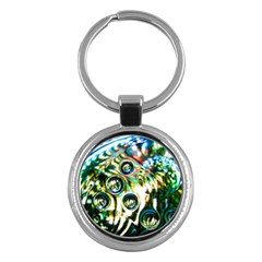Dark Abstract Bubbles Key Chains (round)