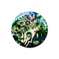 Dark Abstract Bubbles Rubber Round Coaster (4 Pack)