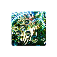 Dark Abstract Bubbles Square Magnet