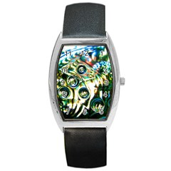 Dark Abstract Bubbles Barrel Style Metal Watch