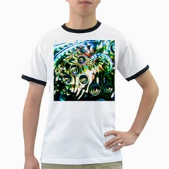 Dark Abstract Bubbles Ringer T Shirts