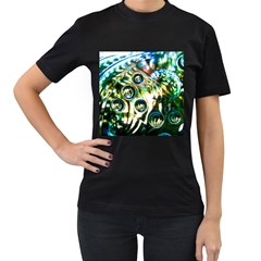Dark Abstract Bubbles Women s T Shirt (black) (two Sided)