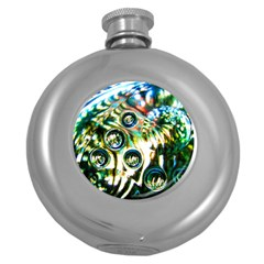 Dark Abstract Bubbles Round Hip Flask (5 Oz)