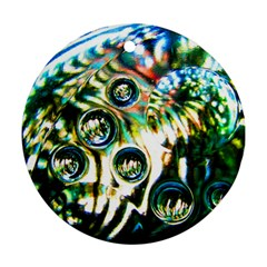 Dark Abstract Bubbles Round Ornament (two Sides)