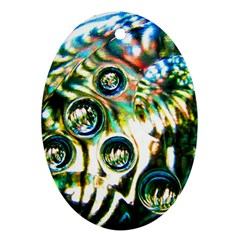 Dark Abstract Bubbles Oval Ornament (two Sides)
