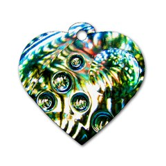 Dark Abstract Bubbles Dog Tag Heart (two Sides)