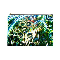 Dark Abstract Bubbles Cosmetic Bag (large)