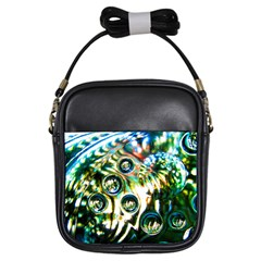 Dark Abstract Bubbles Girls Sling Bags