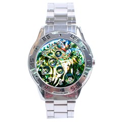 Dark Abstract Bubbles Stainless Steel Analogue Watch