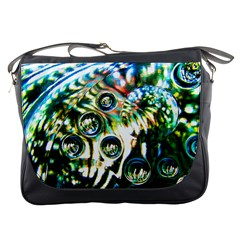 Dark Abstract Bubbles Messenger Bags