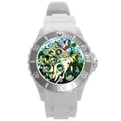 Dark Abstract Bubbles Round Plastic Sport Watch (l)
