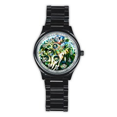 Dark Abstract Bubbles Stainless Steel Round Watch