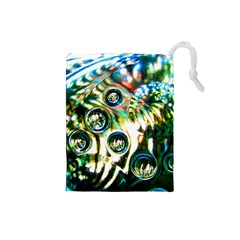 Dark Abstract Bubbles Drawstring Pouches (small)
