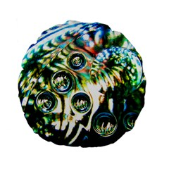 Dark Abstract Bubbles Standard 15  Premium Flano Round Cushions