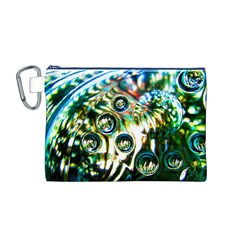 Dark Abstract Bubbles Canvas Cosmetic Bag (m)