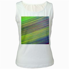 Diagonal Lines Abstract Women s White Tank Top