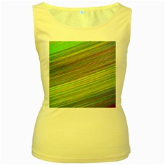 Diagonal Lines Abstract Women s Yellow Tank Top