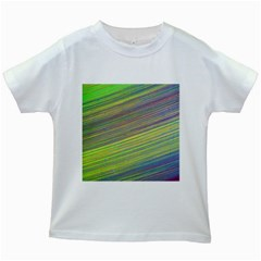 Diagonal Lines Abstract Kids White T Shirts