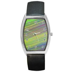 Diagonal Lines Abstract Barrel Style Metal Watch