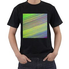Diagonal Lines Abstract Men s T Shirt (black) (two Sided)