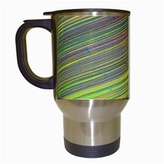 Diagonal Lines Abstract Travel Mugs (White)
