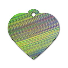 Diagonal Lines Abstract Dog Tag Heart (one Side)