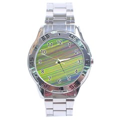 Diagonal Lines Abstract Stainless Steel Analogue Watch