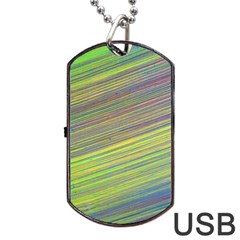 Diagonal Lines Abstract Dog Tag Usb Flash (one Side)